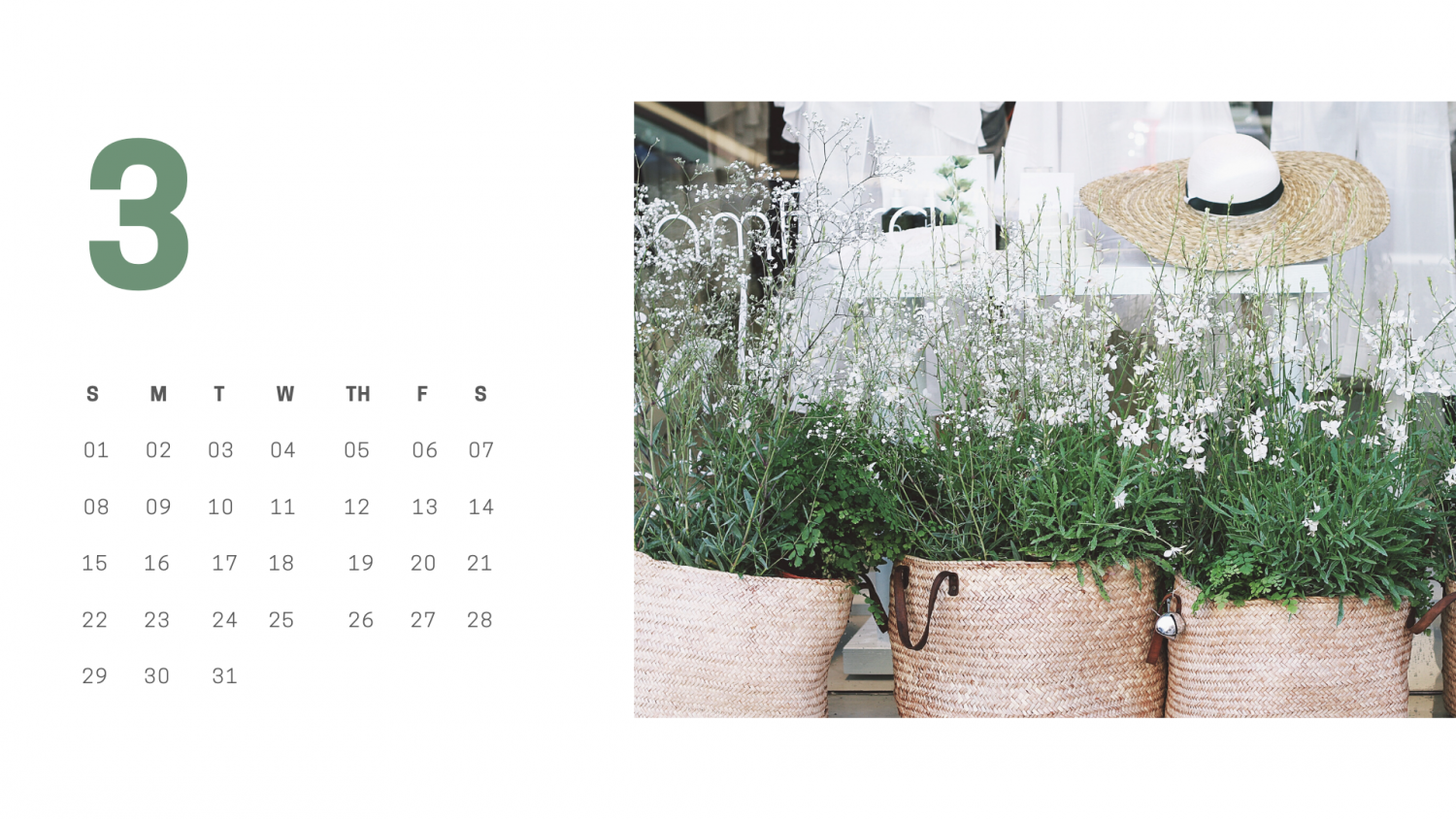 Brown Minimalist Photo Calendar